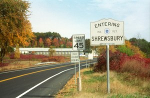 Entering Shrewsbury sign