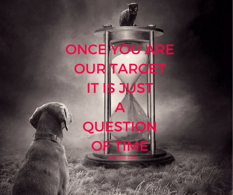 ONCE YOU AREOUR TARGETIT IS JUSTAQUESTIONOF TIME