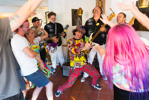 """Nardwuar and The Evaporators shooting the """"Eat to Win"""" video ! Liberty Bakery, Vancouver BC Canada! (Pic by William Jans)"""