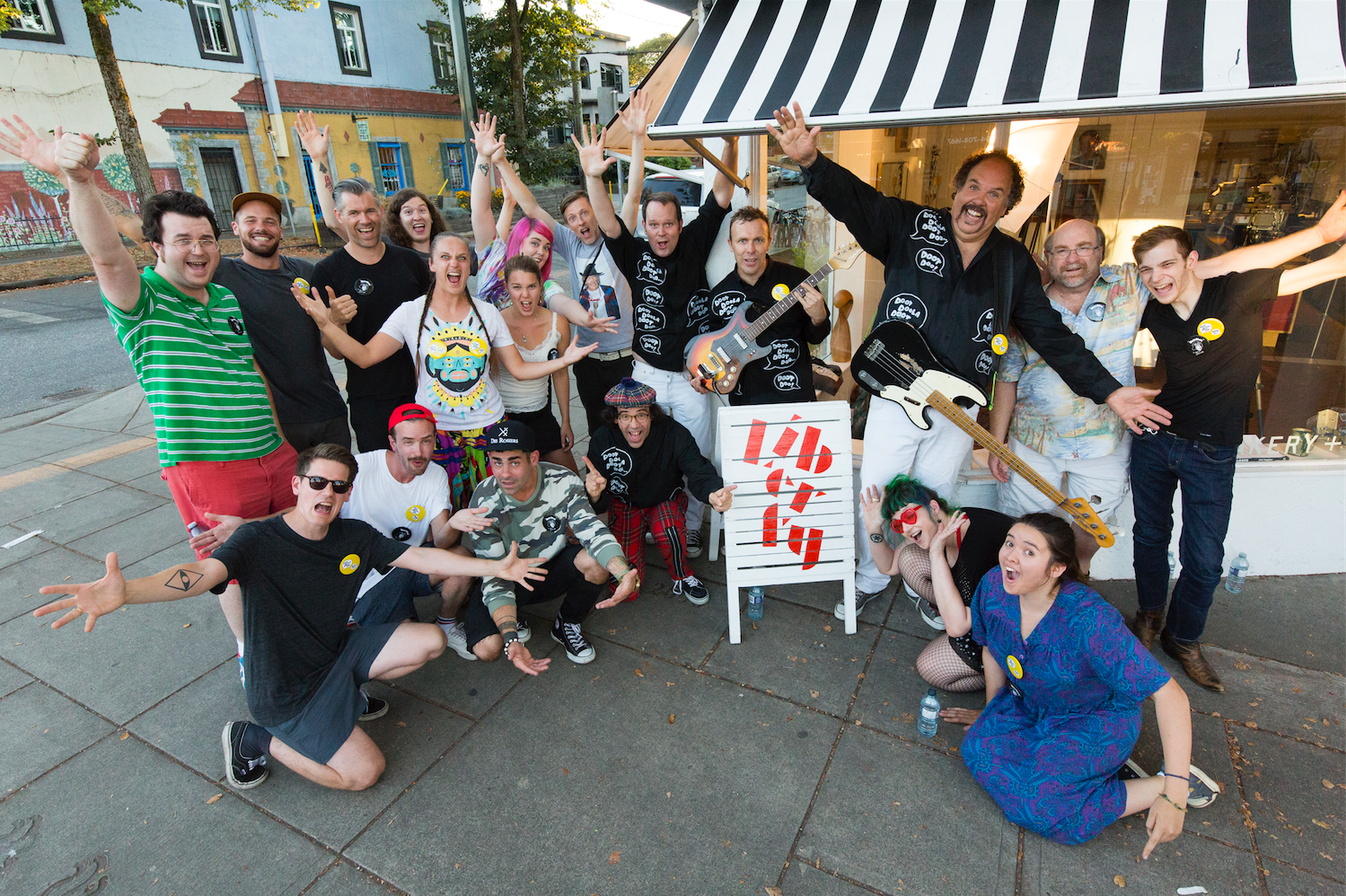 "Nardwuar and The Evaporators and the cast and crew of the ""Eat to Win"" video ! Liberty Bakery, Vancouver BC Canada! (Pic by William Jans)"
