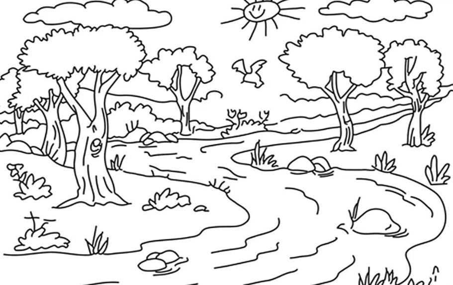 7 Sketsa Gambar Mewarnai Pemandangan, Siap Download!