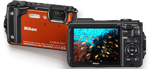 Nikon CoolPix W300 camera front and back side