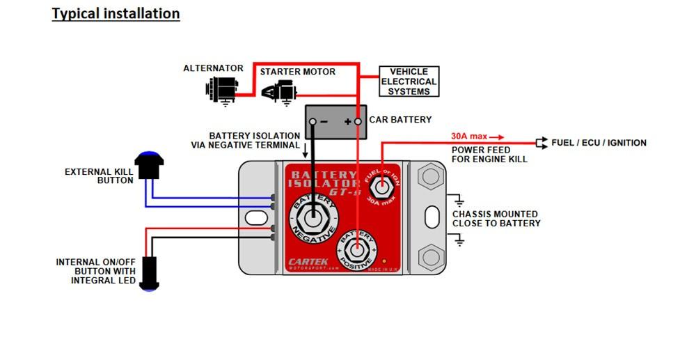 Cartek Battery Isolator GT Electronic Kill Switch - NaroEscape Motorsports | Push Button Battery Isolator Wiring Diagram |  | NaroEscape Motorsports