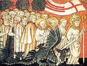 Une image représentant saint Clément menant le graülich à la rivière avec son étole