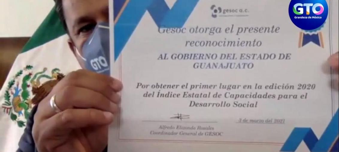 GUANAJUATO PRIMER LUGAR NACIONAL EN EL ÍNDICE ESTATAL DE CAPACIDADES PARA EL DESARROLLO SOCIAL 2020.