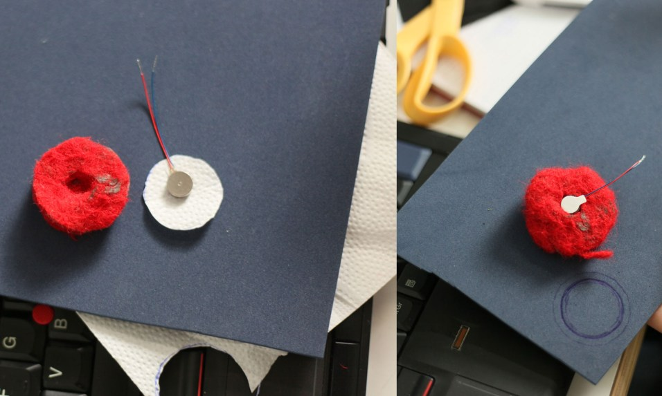 Materials: a felted pressure sensor, vibration motor and 3D embroidery filler material. Cut a tiny hole in the pressure sensor to fit the vibration motor.