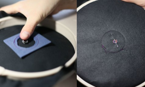 Insert the vibration motor onto the centre of the hole shape. Secure the wires on the reverse side.