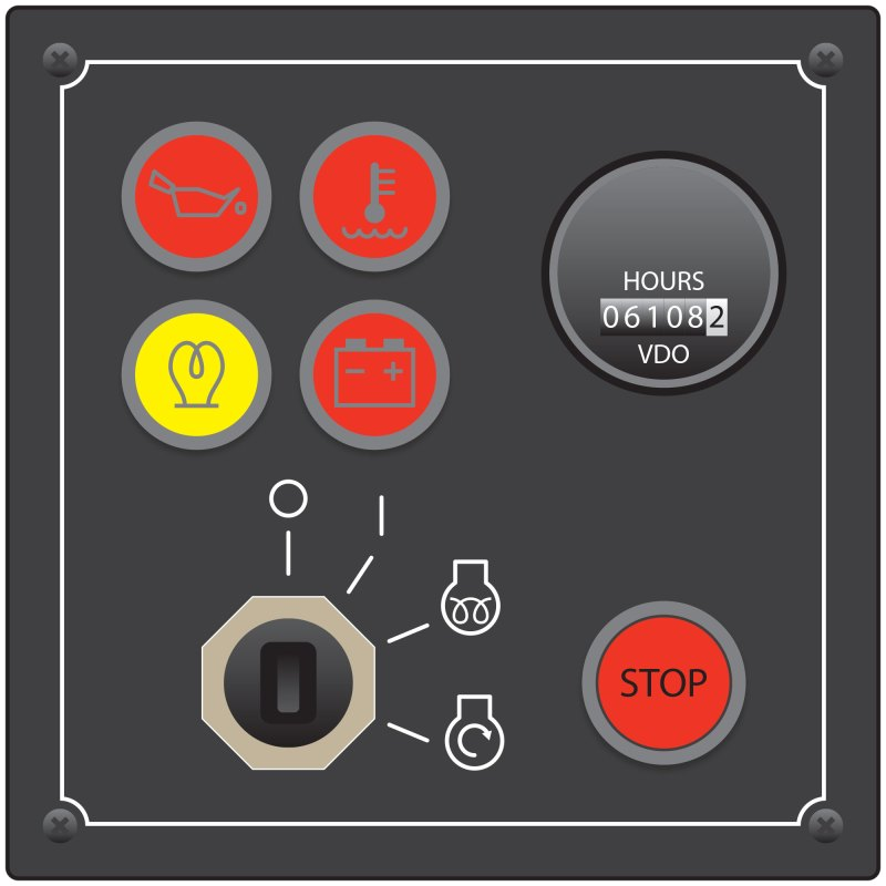 Line drawing of ignition panel showing four warning lights, the ignition switch, the stop button and a counter indicating total hours of operation