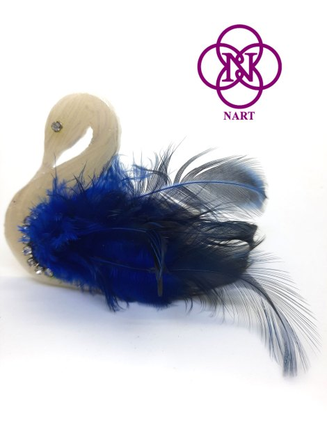 Broche Cisne blanco-azul