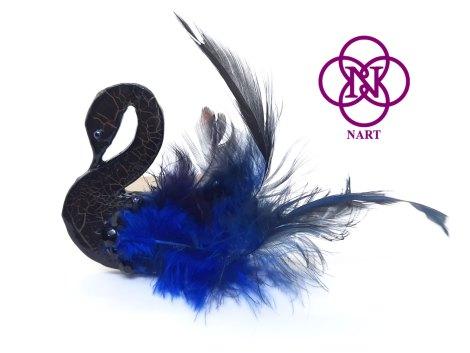 Broche Cisne NEGRO-AZUL