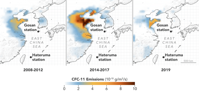 cfc mdl 2008 2019 lrg - NASA-Funded Network Tracks the Recent Rise and Fall of Ozone-Depleting Pollutants