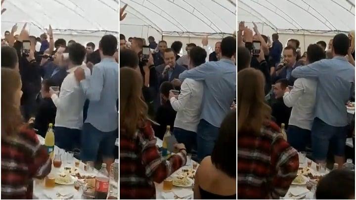 KOFERČE SE VESELI: Dačić peva na mikrofon na ispraćaju Vučkovog sina, tako će pevati i u zatvoru kad ga topla braća dohvate! 1