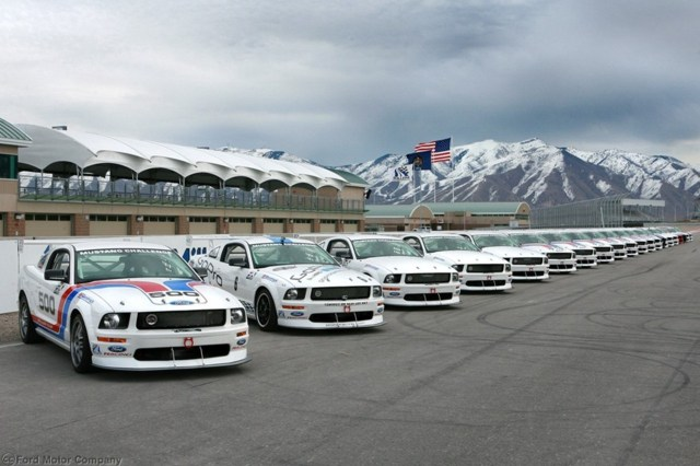 Brand-new Ford Mustangs FR500S race cars built for the Ford Racing Mustang Challenge for the Miller Cup lined up on the grid at Miller Motorsports Park awaiting their new owners. (photo courtesy Miller Motorsports Park/Jeremy Henrie) (3/5/08)