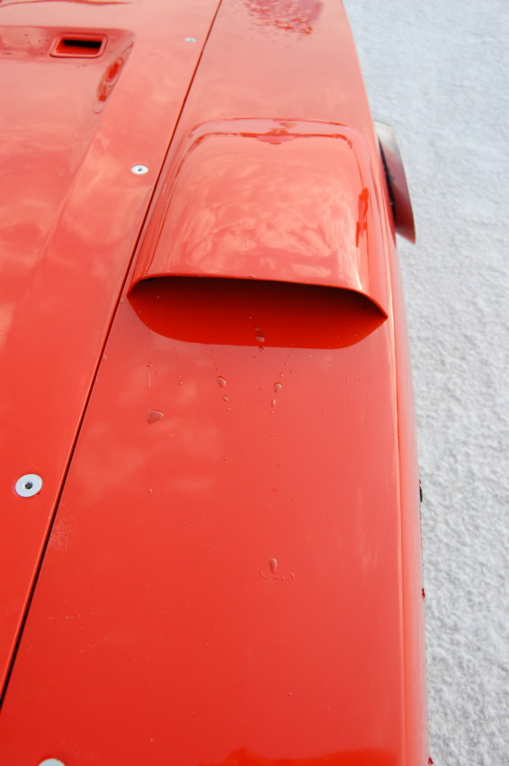 Not even 283 mph at Bonneville will move an oil dot if the airflow is separated from the surface. The oil dots in the hood cove and behind the fender outlet scoop remained stationary. The stationary oil dots behind the fender outlet indicated that not much air flowed in or out, even though the outlets are open to the under-hood area.