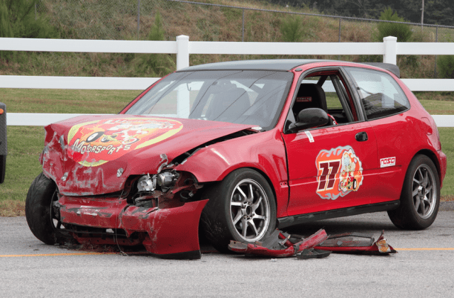 Call these before and after. Early in the day, this Honda Civic was chasing Thunder Roadsters in Turn 1. By the end of the day, Road Atlanta had claimed it.