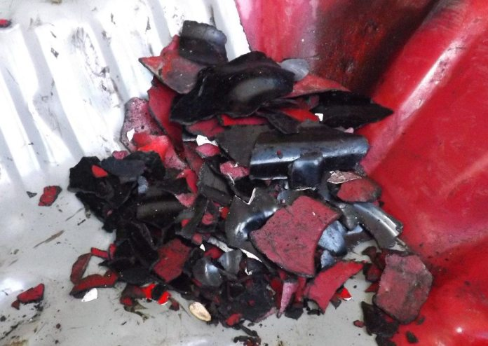 Here is a pile of all of your hard work, the debris of sound-deadening material removed from the floor pan. If you took the time to weigh all the pieces, trust me, you will be pretty disappointed in the actual weight loss.