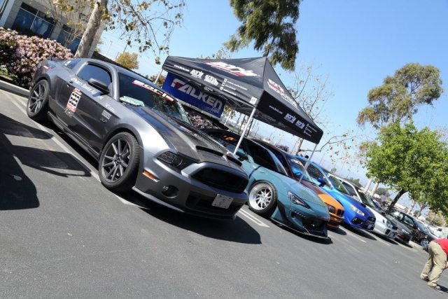"Borla Exhaust brought its ""track team"" to show off to attendees. The fleet of Borla-sponsored time attack cars will be facing off against NASA TT drivers soon."