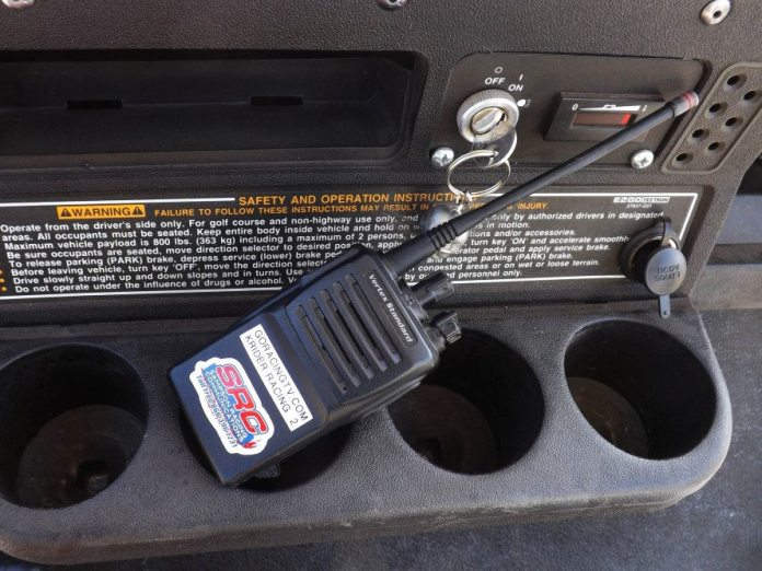 The most important thing to have in the golf cart is a team radio. Everybody wants to drive your golf cart, when you actually need it. The radio is there so you can yell at people to get your cart back.