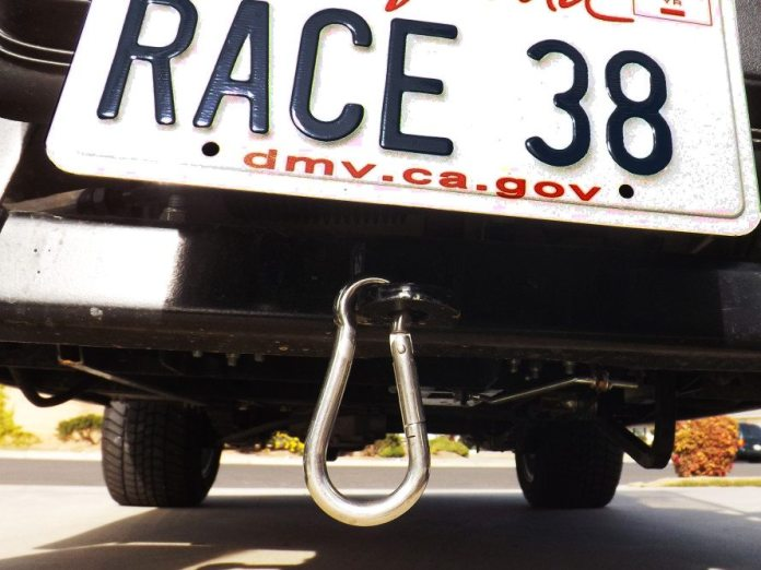 Hopefully you will never need it, but it is a good idea to put a tow hook on your tow vehicle. It can tow your damaged racecar around the paddock or it can tow the golf cart with dead batteries back to the charger.