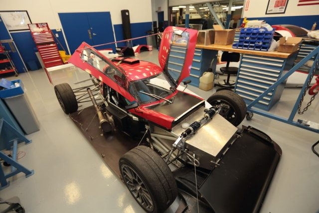 The undressed chassis No. 00 sits in Élan Motorsports Technologies' facility in Braselton, Ga., after its first public debut at the Eastern States Championships at VIR.