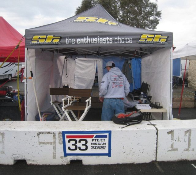 You want your canopy to have walls. Rain at the 25 Hours of Thunderhill doesn't always fall straight down. Lots of time it goes sideways. Ensure your canopy is strapped down so it doesn't fly away.