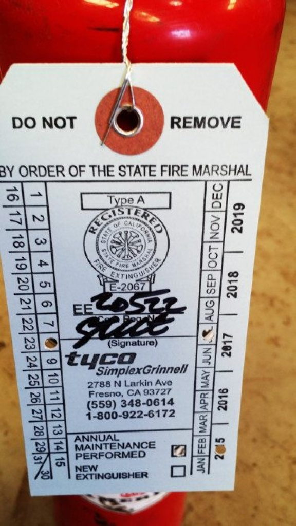 One of the quickest fails during an annual tech inspection by NASA officials is a fire extinguisher not charged at the required level. Other sanctioning bodies require a biannual recertification of the extinguisher. Keeping a certification tag on the extinguisher will ensure you make it through tech without issue.