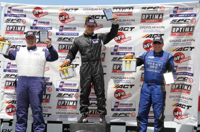 Daniel Akhromstev (center) went from first to last first to take the win in GT. Travis Tidball (left) took second in GT in his Chevrolet Corvette. Mike Holland finished in third in his FFR GTM.