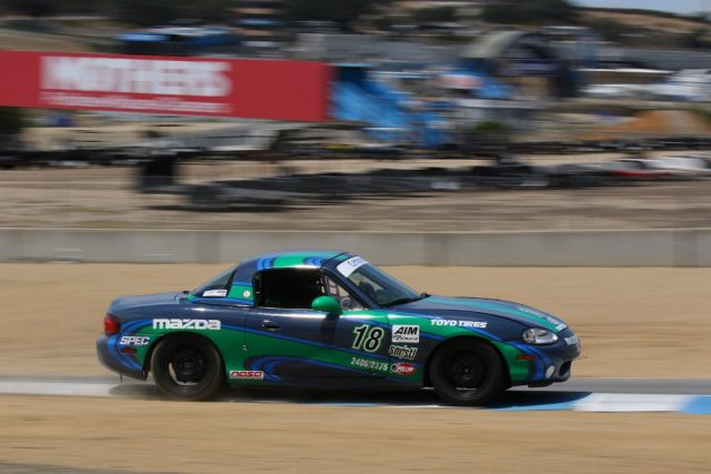 A post-race penalty ahead of Tim Weaver bumped him up to a third-place finish in Spec Miata by just .092 seconds over the car behind him.