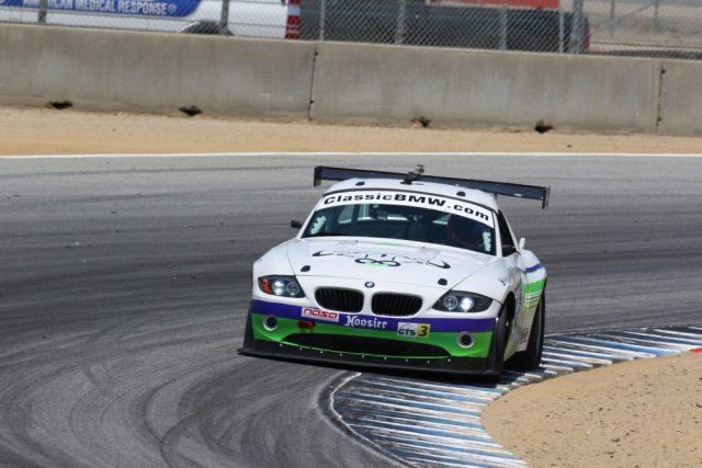 NASA Texas racer Toby Grahovec held off a hard-charging Hugh Stewart take second in GTS3.