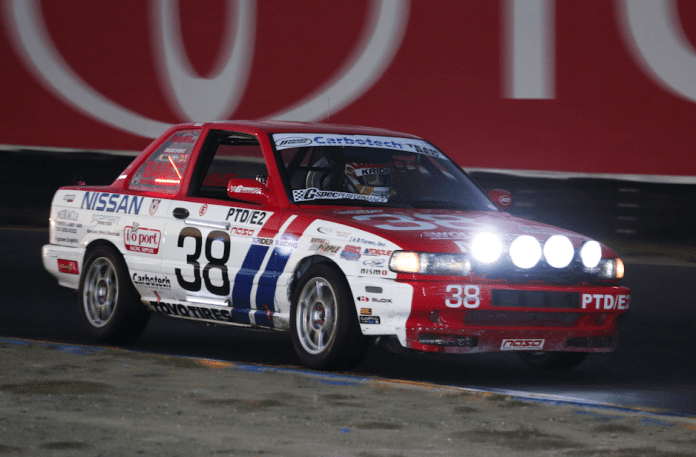 Number 38, Rob Krider in his 1991 Nissan Sentra SE-R won first place by a 5-lap margin in E2 which was the second largest class in the field at Sonoma.