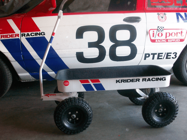 A fun thing to do with your pit wagon is to paint/sticker it up to match your race car. It also helps people return your cart to you when you mistakenly leave it in the paddock or someone borrows it from you.