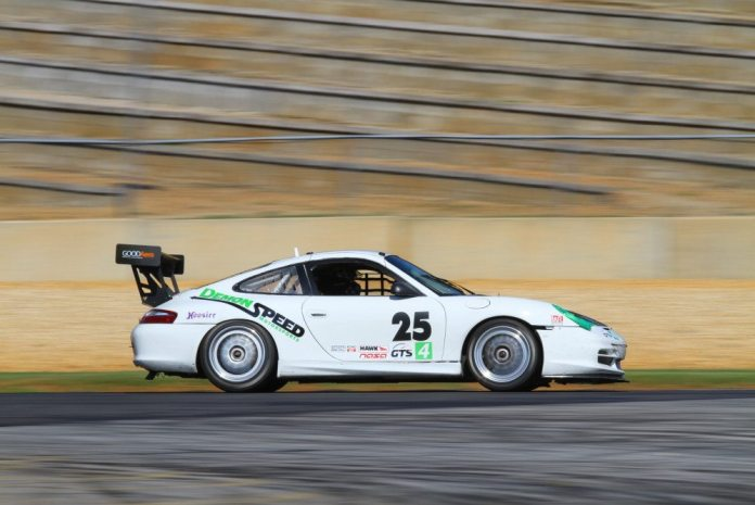 Edward Baus came from his fifth place start on grid to take third in GTS4.
