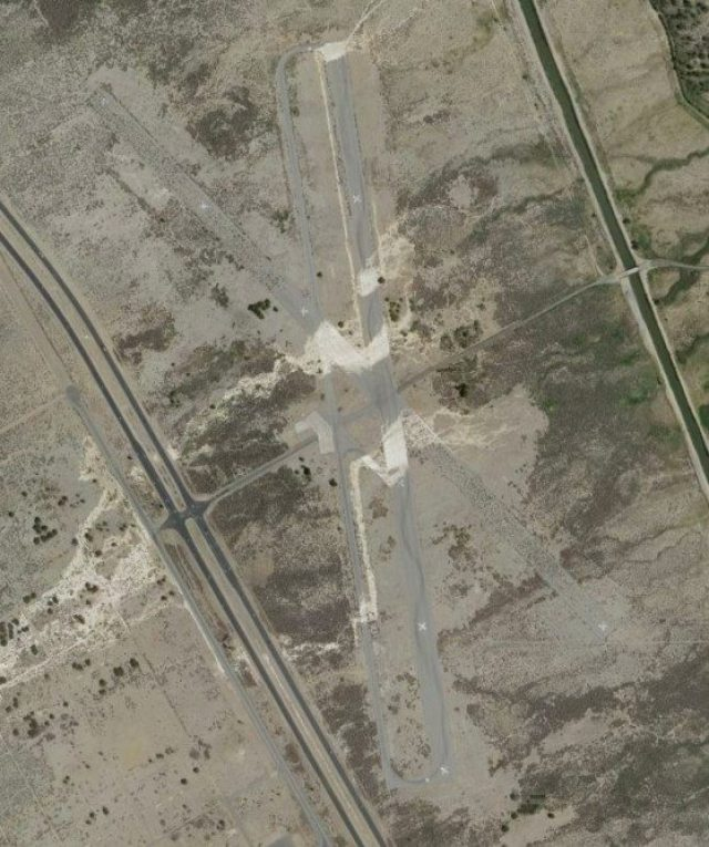 From 10,000 feet up, you can see the rubbered-in path of the Lone Pine Time Trial course at Manzanar Airport.