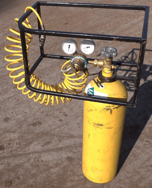 Many race tracks and sanctioning bodies require safety cages placed around pressure regulators on compressed-gas cylinders. This one was built by the guys at Capitol City Motorsports in Sacramento, Calif.