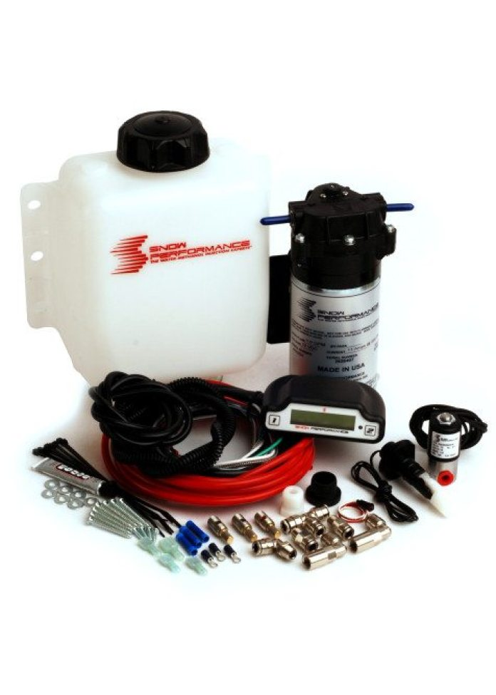 Snow Performance kits come with the necessary pump, hardware, controller, reservoir, wiring and plumbing. If you don't have enough room under the hood for another reservoir, you can use the factory windshield washer reservoir.