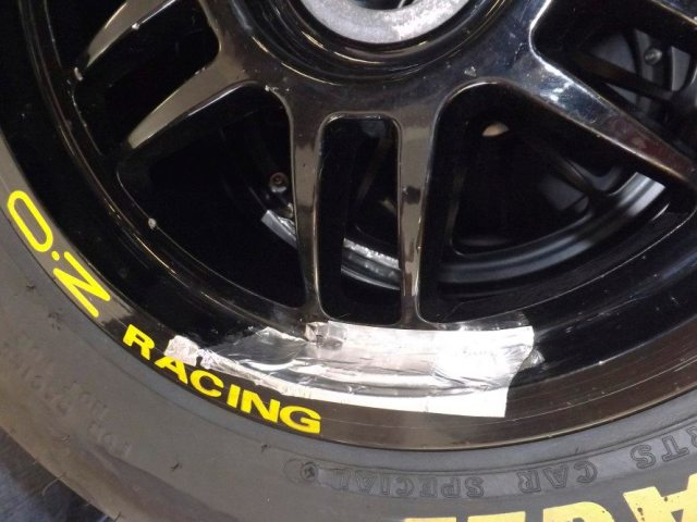 The team uses foil tape for their wheel weights. Foam tape and duct tape won't hold up when things get hot on the racetrack. Where can you buy this trick space-age racing tape? Home Depot.