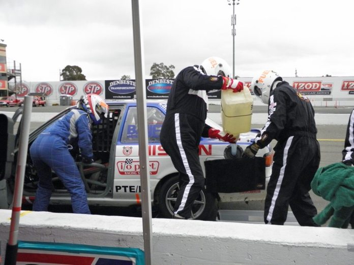 Here is the magnetic fuel-spill towel in action. The little towel hanging under the fuel door proved extremely valuable. During the 2010 WERC season, the crew never spilled a single drop of fuel on the ground all year and earned the E3 class championship.