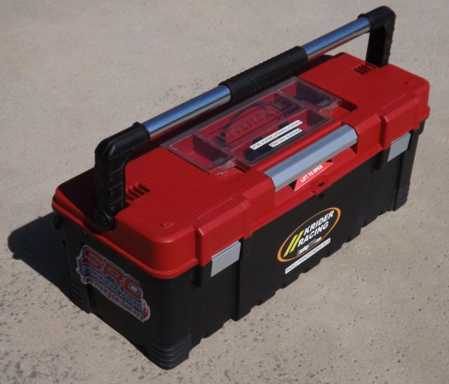 A simple fix to organizing your communication gear is an all-in-one package. This inexpensive plastic Craftsman tool box is big enough to hold radios, chargers, a power strip, extra batteries and headsets. Plus it is durable enough to bounce around in the race trailer and keep all of your expensive and delicate radio gear safe.