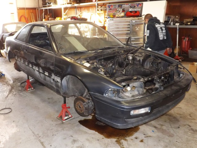 Here is the 1993 Acura Integra several months ago as we began to strip it down and build a Honda Challenge 4 car from a $500 chassis we found impounded at a tow yard. A lot of man-hours went into finishing this project.