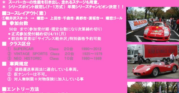 SUPER CAR RALLY CHALLENGE No1 in 軽井沢 ステージ 150Km【2012】