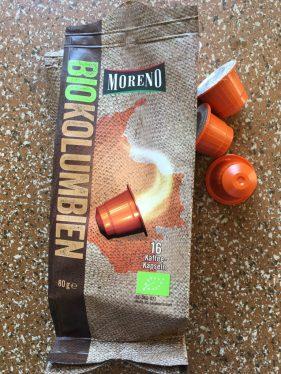 Gute Alternative von Aldi: Kolumbianischer Bio-Kaffee für die Nespresso-Maschine: 16 Kapseln für 2,99€ - schmeckt aromatisch.