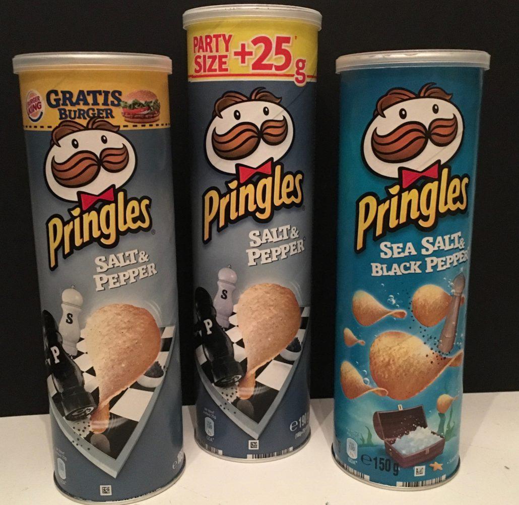 Pringles Salt & Pepper u(190 G) und Sea Salt & Black Pepper (150G)