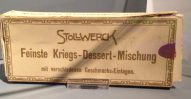Stollwerck Feinste Kriegs-Dessert-Mischung mit verschiedenen Geschmacks-Einlagen Historischer Karton