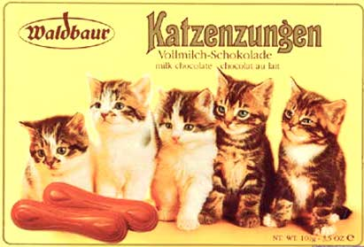 Werbeschild Emaille Waldbaur Katzenzungen