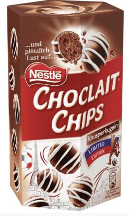 Nestlés Choclait Chips als Knusperkugeln Black+White