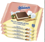 Manner-Schnitte mit Milch-Haselnuss-Geschmack