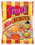 Witzige Mini-Burger aus verschiedenfarbigen Gummistückchen im durchsichtigen Burger-Karton von Trolli