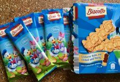 Einzeln verpackte Butterkekse von Aldi mit Donald und Daisy Duck.