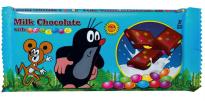 Und auch ihn findet man wieder: Den kleinen tschechischen Maulwurf als Schokoladentafel mit Schokolinsen.