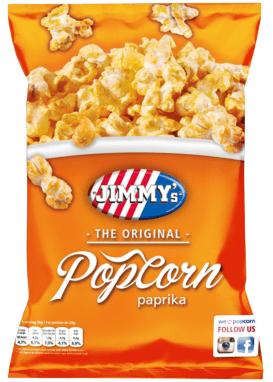 Jimmy's Popcorn ist mir zuvor nur durch ihr Lizenzprodukt Tabasco-Popcorn aufgefallen. Sie haben also auch Paprika-Geschmack.